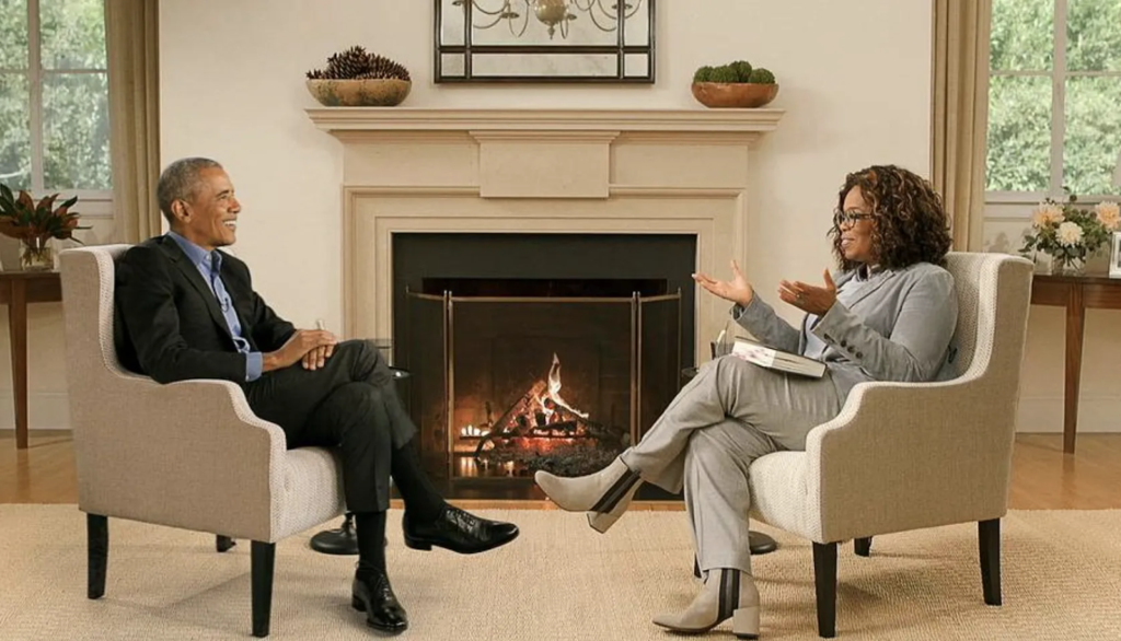 The infamous 'Oprah-Obama' fireside chat, a Virtual Production popular thanks to its unique blend of live input and greenscreen-induced Augmented Reality.
